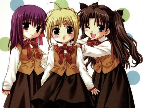 3 female japanese anime characters with large round eyes