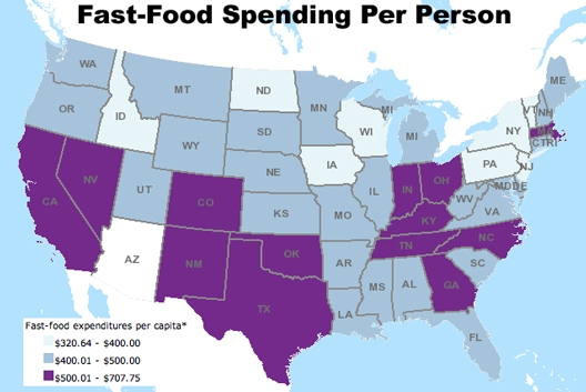 Fast Food Restaurants Per Capita United States