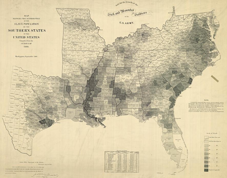 Map of the Last US Slave Census 1860 Sociological Images