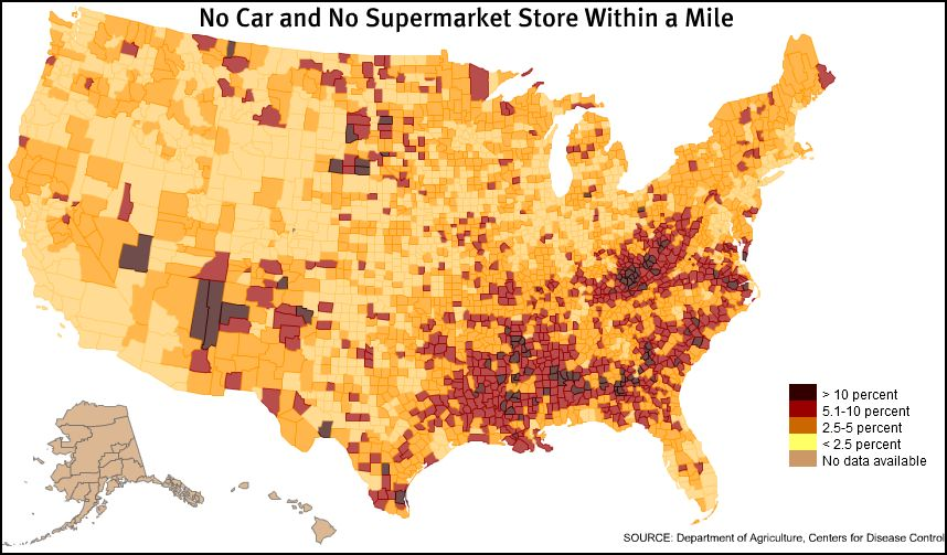 Map of food deserts in the United States