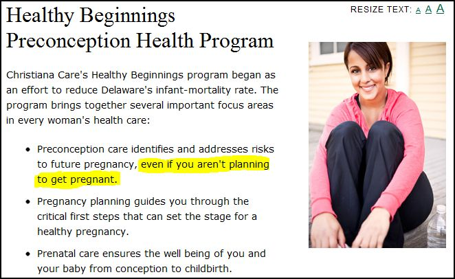 Healthy Beginnings for Preconception Health Program