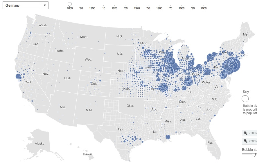 Interactive Map Of Immigrant Settlement Patterns In US - Animated map of immigrants to us