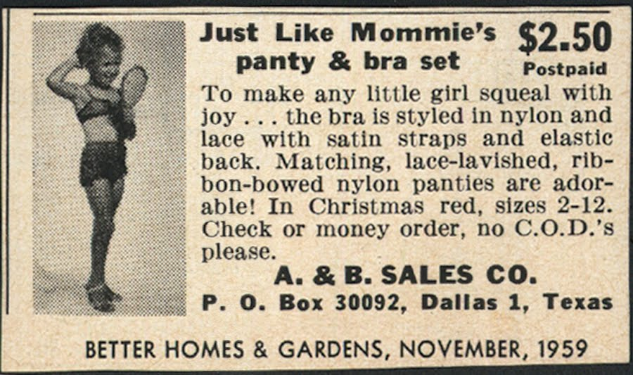 the ad from 1959 offers bra and panties set for girls sizes 2 12