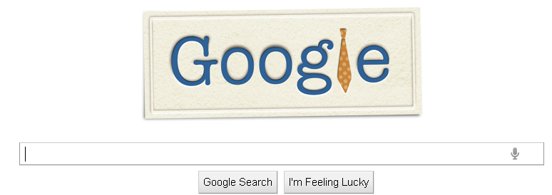 The Google logo with a men's tie replacing the