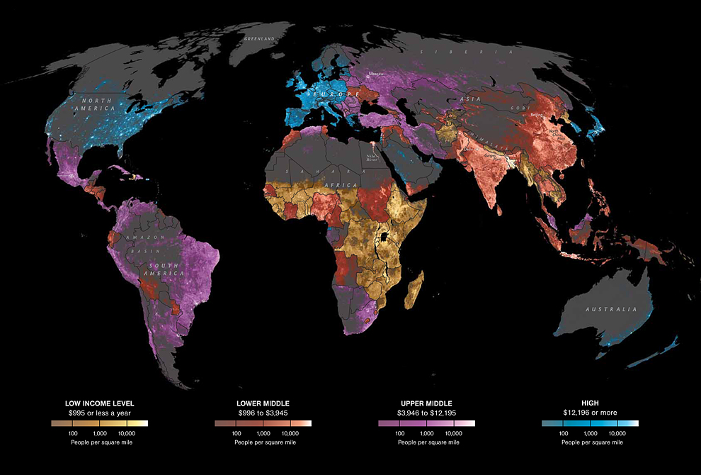 Map Of Global Per Capita Income And Population Density Sociological Images