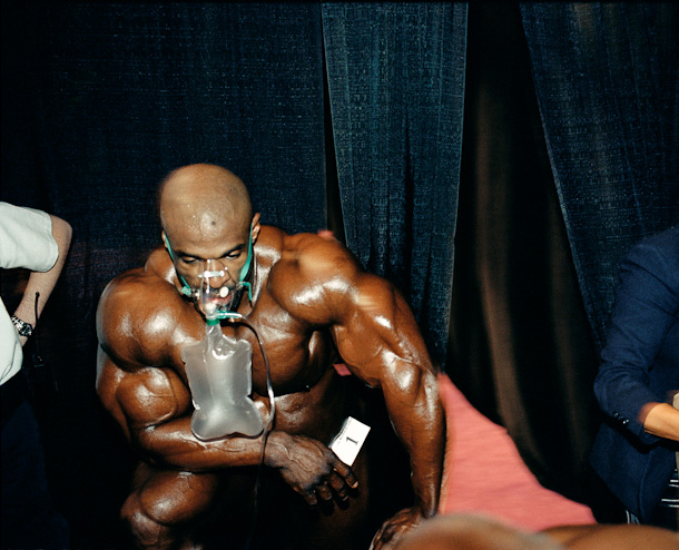 Bodybuilder Ronnie Coleman, in oxygen mask, just after the Mr. Olympia competition