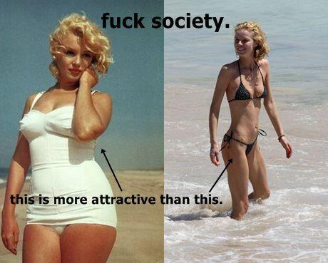 in the first photo marilyn is compared to another woman in a bikini