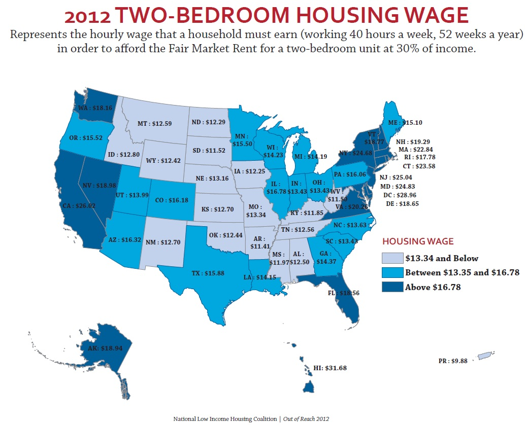 The Minimum Wage And The Cost Of Housing Sociological Images - Minimum wage us map