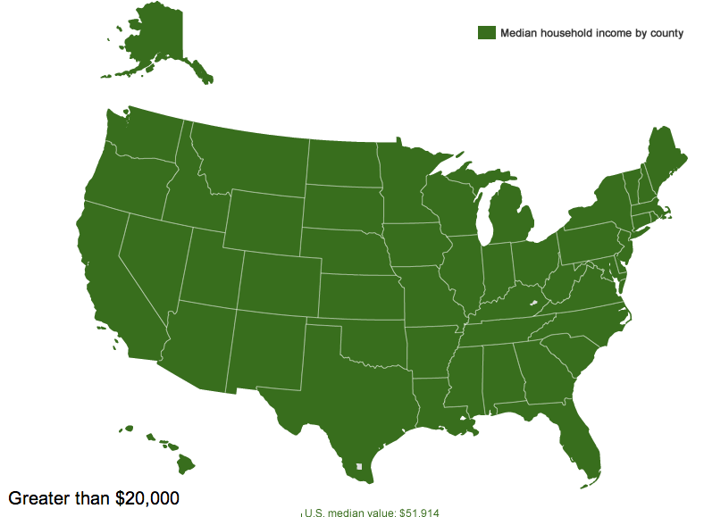 Interactive Map of Median Income by County - Sociological Images