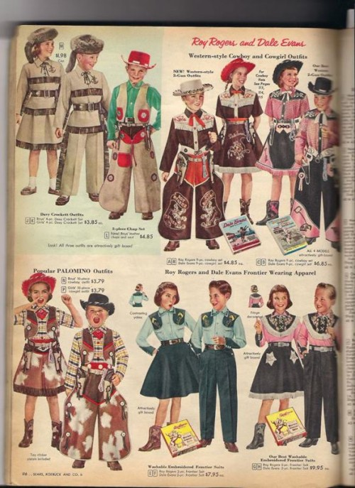 a magazine spread from the 1950s shows boys and girls dressed as cowboys wearing pink
