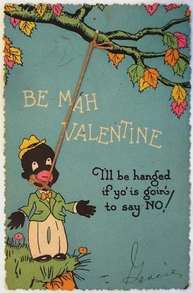 Racist Vintage Valentines Day Cards Africans and African