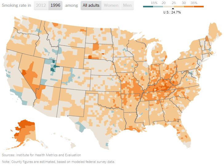 Sociological Images - Smoking rates us map