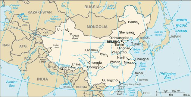 Map of China Courtesy of Central Intelligence Agency