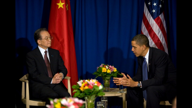 Chinese Premier Wen Jiabao and United States President Barack Obama at the United Nations Climate Change Conference