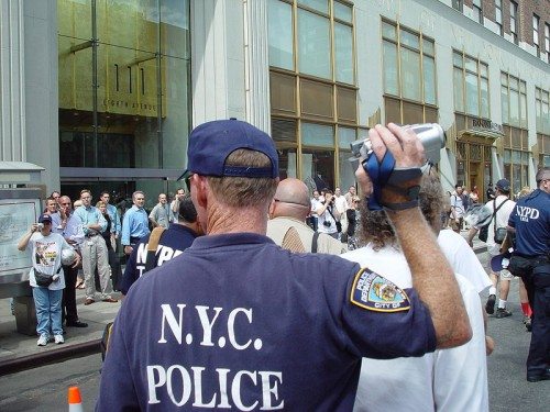 Police videotape citizens protesting at the 2004 Republican National Convention in New York City.  Retrieved from Wikimedia http://commons.wikimedia.org/wiki/File:RNC_04_protest_49.jpg
