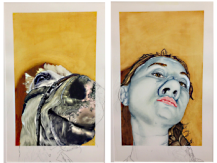 Gina Altadonna. Diptychs. 2013. Watercolor on paper. 9 x 24 in. © Gina Altadonna. Reprinted  with permission.