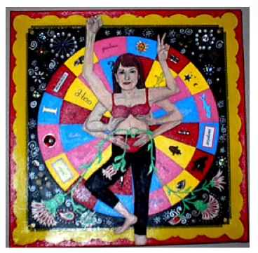 Janet Bloch. Self Portrait as Shakti, 2004. Acrylic & Mixed Media,  16 x 16 in. © Janet Bloch. Reprinted with permission.