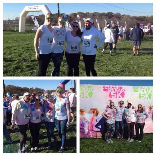 Photo of my Color Me RAD team before and after the race. (I'm second from the left in the top photo). Photo source: mine.