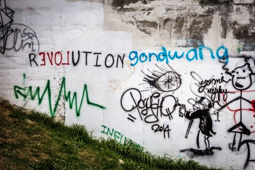 I found this Russell Brand inspired graffiti in my neighbourhood, which is a small Barrio of Quito, Ecuador, called Guápulo,