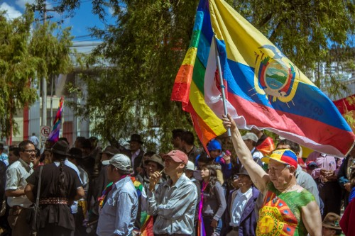 Protestors gather outside the headquarters of CONAIE (The Confederation of Indigenous Nations of Ecuador) in Quito, Ecuador.