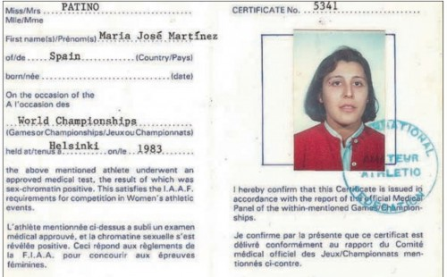 Gender certification for María José Martínez-Patiño, a victim of the chromosomal testing era. Via http://transascity.org/cross-training-the-history-and-future-of-transgender-and-intersex-athletes-3/