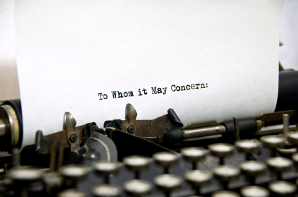 To Whom It May Concern Written on Typewriter