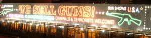 A facetious gun control ad near Boston's Fenway Park. Photo by Jason Paris via flickr.com.