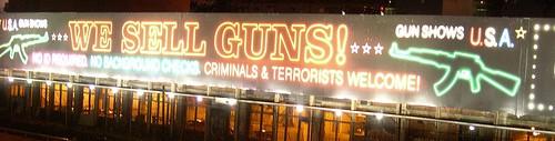 A facetious gun control ad near Boston's Fenway Park. Photo by Jason Paris via flickr.com.