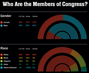 In 2011, @kissmei'mpolish created a graphic to compare the overall US demographics (in the outer arc) with the demographics of the House (middle ring) and Senate (inner ring). Click to see more on Graphic Sociology.