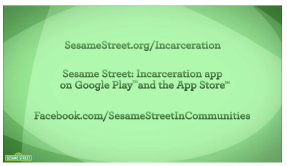 A screenshot from a Sesame Street special on kids with incarcerated parents.