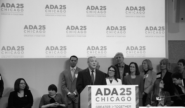 Sen. Dick Durbin speaks at a Chicago event celebrating the 25th anniversary of the ADA. Photo by Daniel X. O'Neil, Flickr CC.