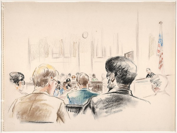 Robert Templeton Drawings and sketches related to the trial of Bobby Seale and Ericka Huggins, New Haven, Connecticut.. 1971. Bibliographic Record Number: 2026728 Call Number: JWJ MSS 33