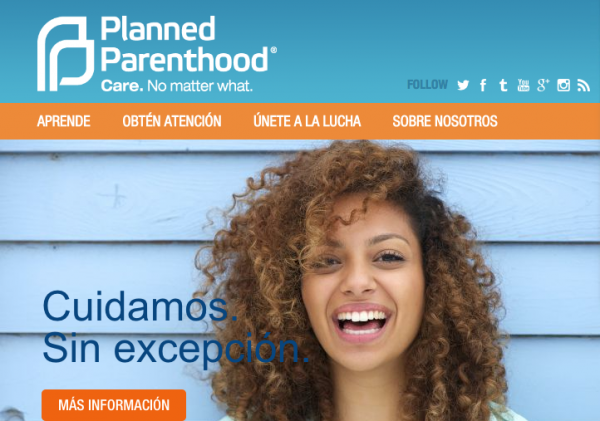 Planned Parenthood's Spanish-language website.