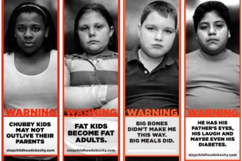 A Georgia group, Strong4Life, targets childhood obesity with its advertisements. Saguy's research shows such ads increase stigma and negatively affect health, even if obesity might not. Collage via ShareItFitness.