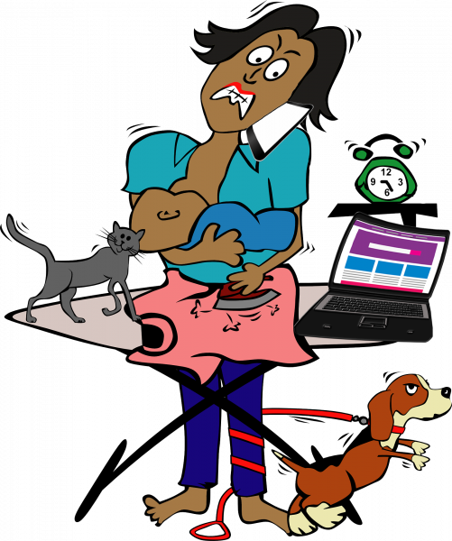 Shows a multitasking woman, breastfeeding a baby, ironing clothes, with pets in the way, and a laptop open and next to her.