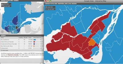 Federal 2008 Election Results by Ridings in Québec