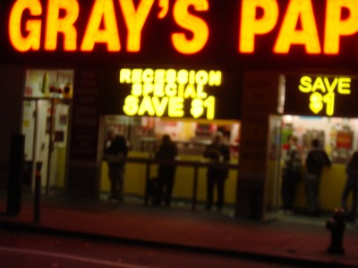 """Recession Special"" Gray's Papaya, 2 October 2004, Manhattan, NYC by Kenneth M. Kambara"