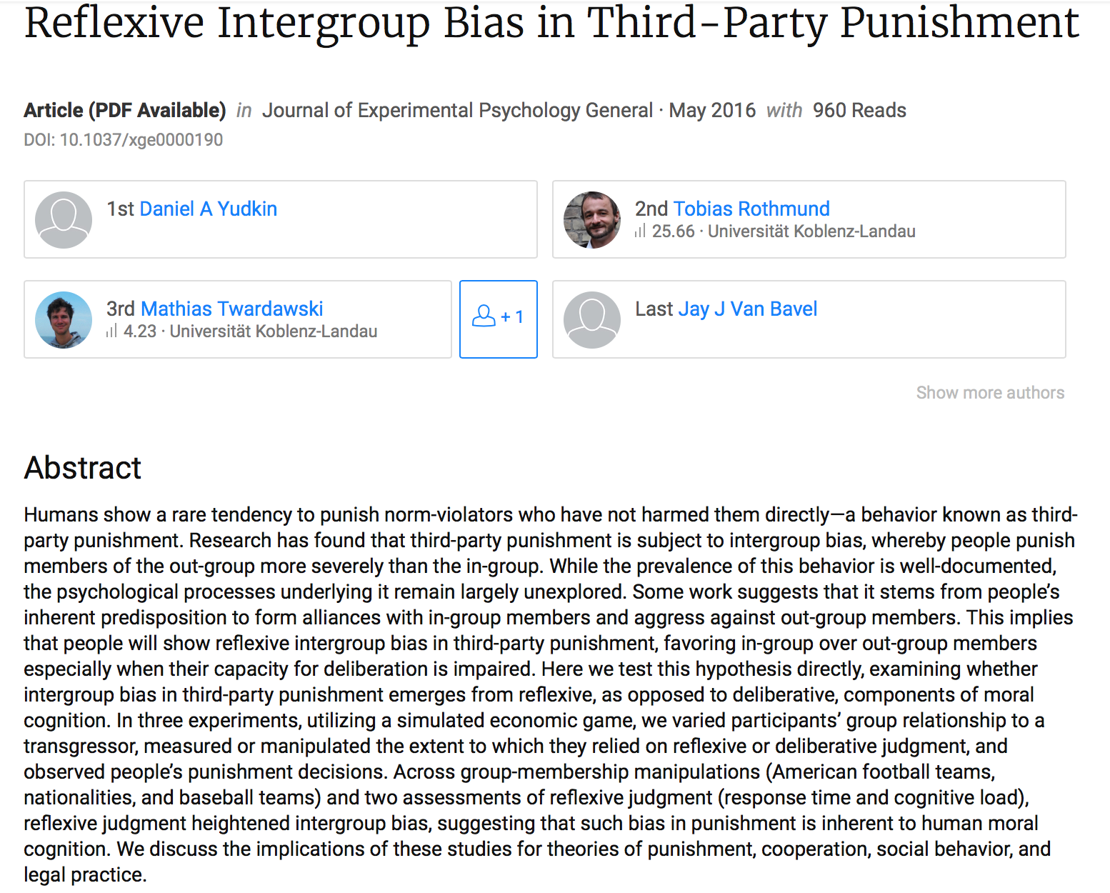 intergroup contact hypothesis This paper evaluates the state of contact hypothesis research from a policy perspective building on pettigrew and tropp's (2006) influential meta-analysis, we assemble all intergroup contact studies that feature random assignment and delayed outcome measures, of which there are 27 in total.