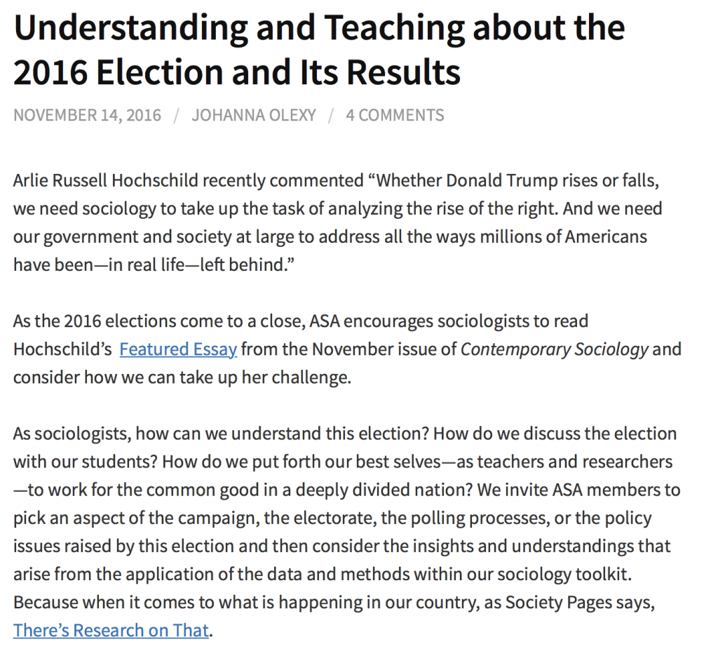 sociologists reflect on trump s election sociology toolbox additional resources and initial thoughts from sociologists on the 2016 election can be found on the asa blog speak for sociology