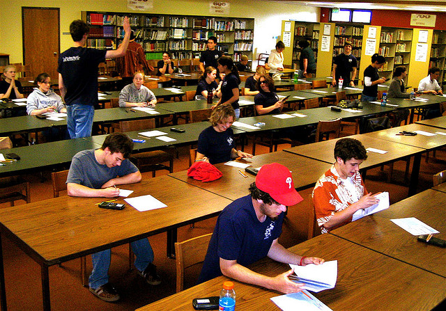 Students take the AP Statistics test. Photo by Adrian Sampson via Flickr.