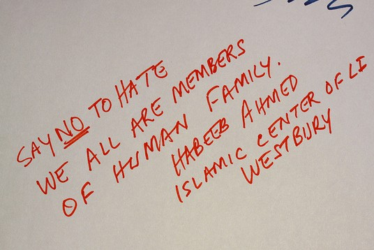 A message left at a memorial for Marcelo Lucero, a Hispanic victim of a hate crime on Long Island. Photo by Long Island Twins via Flickr.