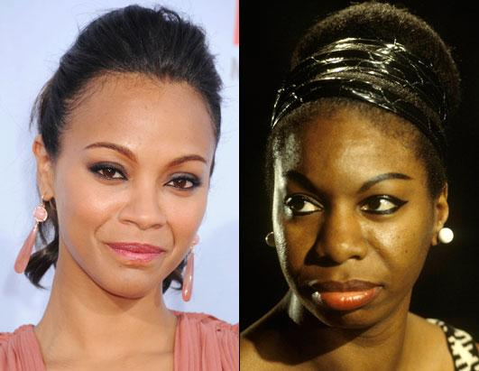 Zoe Saldana, left, and Nine Simone, right. Image via ABC News Entertainment.